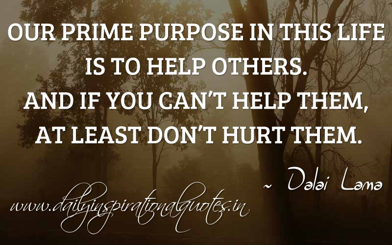 Our prime purpose in this life is to help others. And if you can't help them, at least don't hurt them. ~ Dalai Lama