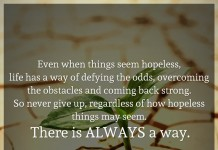 Even when things seem hopeless, life has a way of defying the odds, overcoming the obstacles and coming back strong. So never give up, regardless of how hopeless things may seem. There is ALWAYS a way.