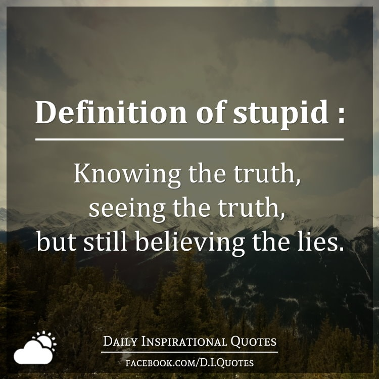 Definition of stupid knowing the truth seeing the truth but still believing the lies - The cob house happiness lies in simple things ...