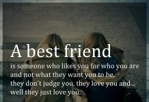 A best friend is someone who likes you for who you are and not what they want you to be. they don't judge you, they love you and... well they just love you.