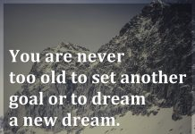 You are never too old to set another goal or to dream a new dream. - C. S. Lewis