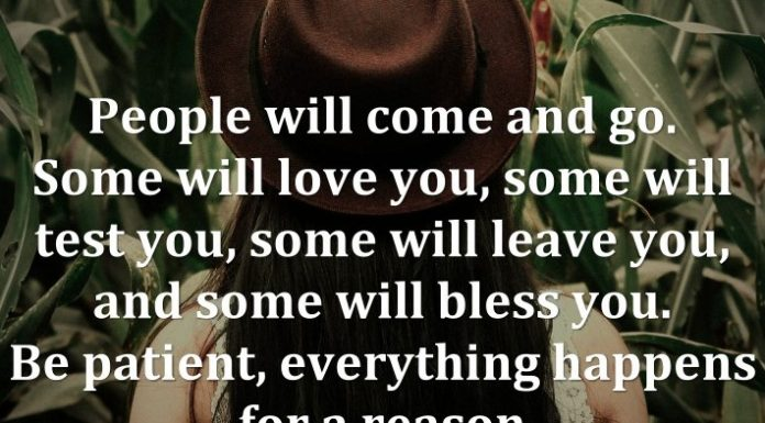 People will come and go. Some will love you, some will test you, some will leave you, and some will bless you. Be patient, everything happens for a reason.