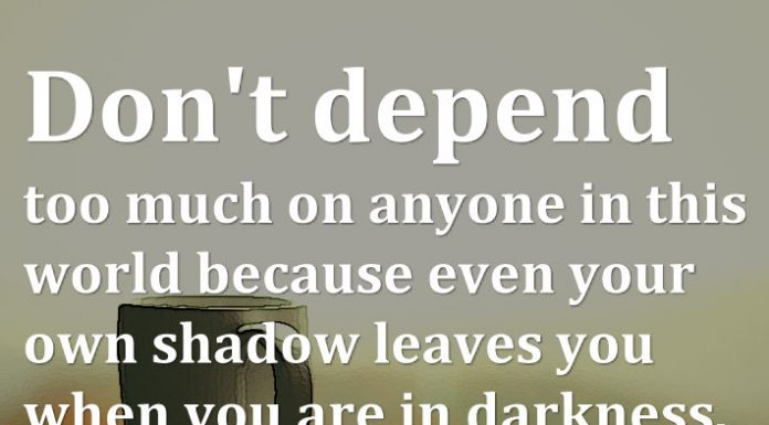 Don't depend too much on anyone in this world because even your own shadow leaves you when you are in darkness.