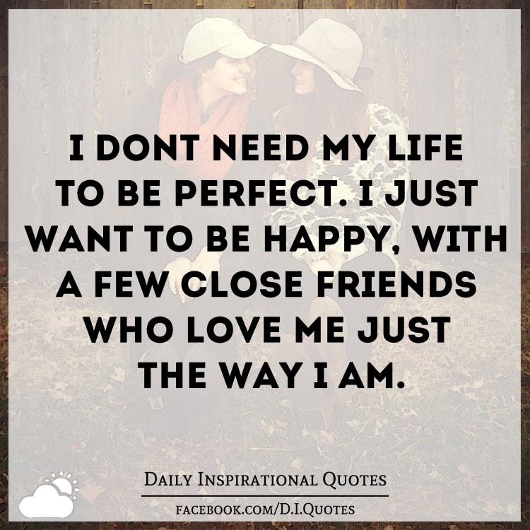 I don't need my life to be perfect  I just want to be happy
