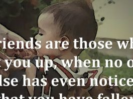 Friends are those who lift you up, when no one else has even noticed that you have fallen.