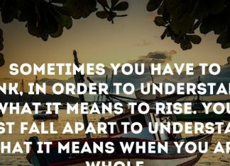 Sometimes you have to sink, in order to understand what it means to rise. You must fall apart to understand what it means when you are whole.
