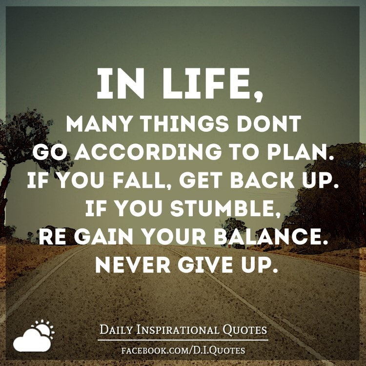 Quotes On Falling And Getting Back Up: In Life, Many Things Don't Go According To Plan. If You