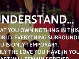 Understand... that you own nothing in this world. Everything surrounding you is only temporary. Only the love you have in your heart will remain forever.