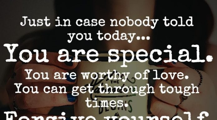 Just in case nobody told you today... You are special. You are worthy of love. You can get through tough times. Forgive yourself, because everyone makes mistakes.