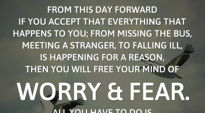 From this day forward if you accept that everything that happens to you; from missing the bus, meeting a stranger, to falling ill, is happening for a reason, then you will free your mind of worry and fear. All you have to do is pay attention to the reason when it is revealed.