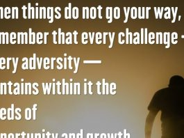 When things do not go your way, remember that every challenge — every adversity — contains within it the seeds of opportunity and growth. — Roy T. Bennett