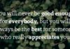 You will never be good enough for everybody, but you will always be the best for someone who really appreciates you.