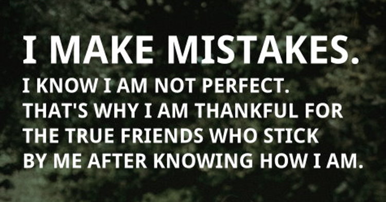 I Make Mistakes. I Know I Am Not Perfect. That's Why I Am