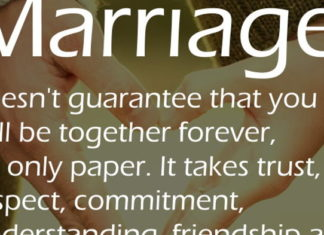Marriage doesn't guarantee that you will be together forever, it's only paper. It takes trust, respect, commitment, understanding, friendship and faith in your relationship to make it last.