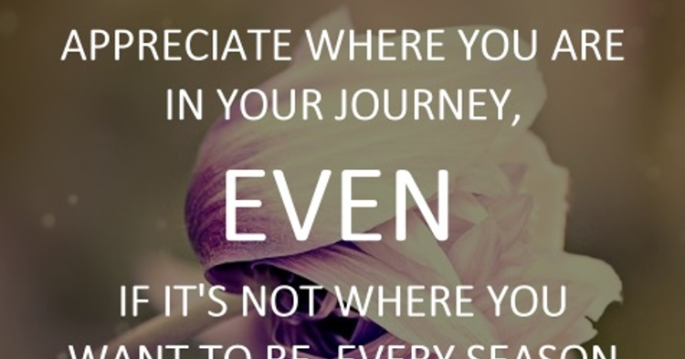 Appreciate where you are in your journey, even if its not where you want...