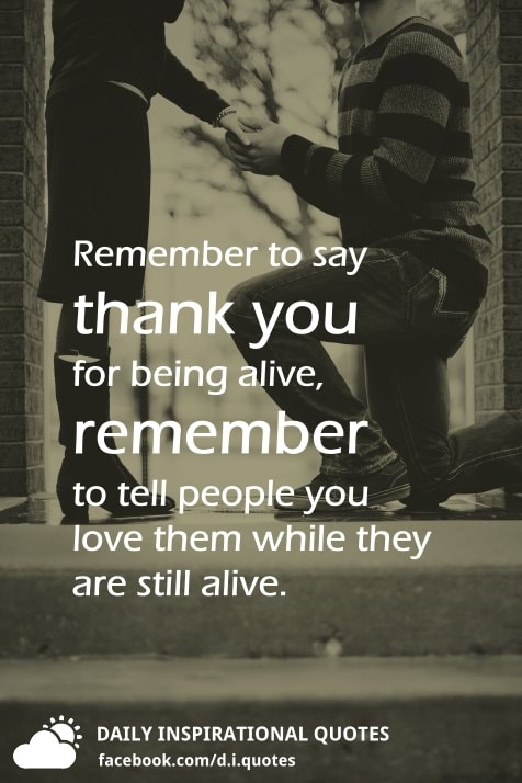 Remember To Say Thank You For Being Alive, Remember To